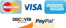 We accept Mastercard, Visa, American Express, Discover, PayPal, and Amazon Payments.